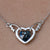 Deep Blue Heart With Wings Necklace