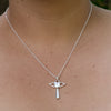 Winged Cross With A Crystal Heart Necklace