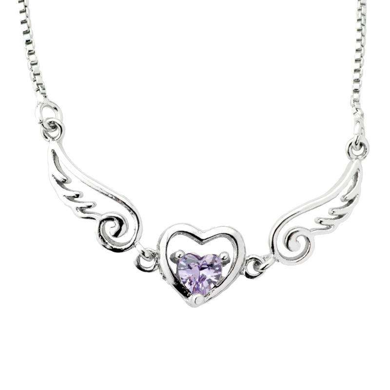 Heart Shaped Crystal With Wings Necklace