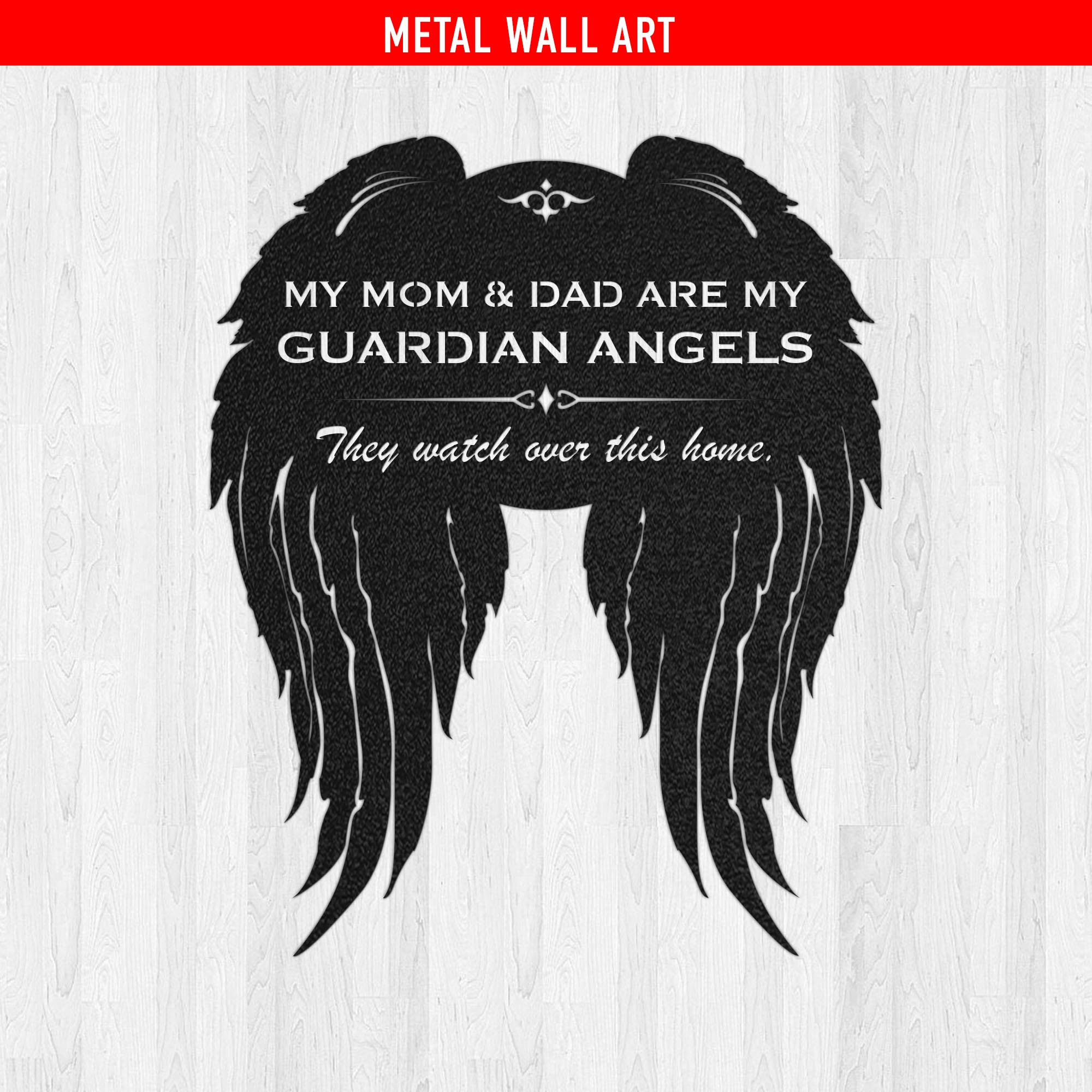 Mom & Dad - Guardian Angels Watch This Home Metal Wall Sign