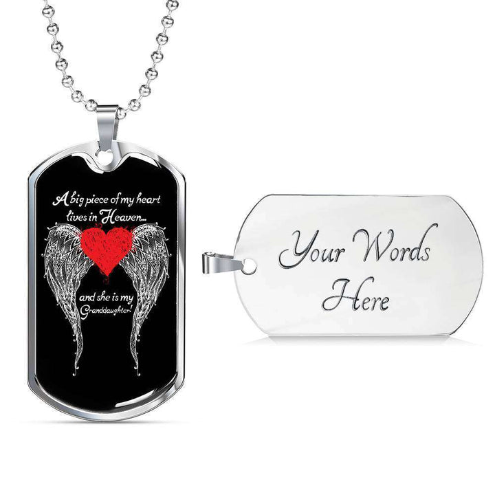 Granddaughter - A Big Piece of my Heart Engravable Luxury Dog Tag