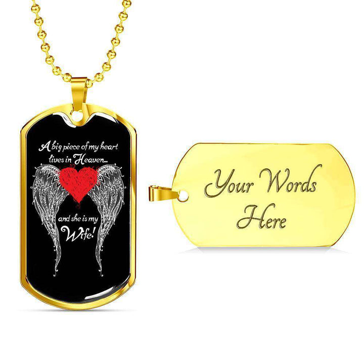 Wife - A Big Piece of my Heart Engravable Luxury Dog Tag