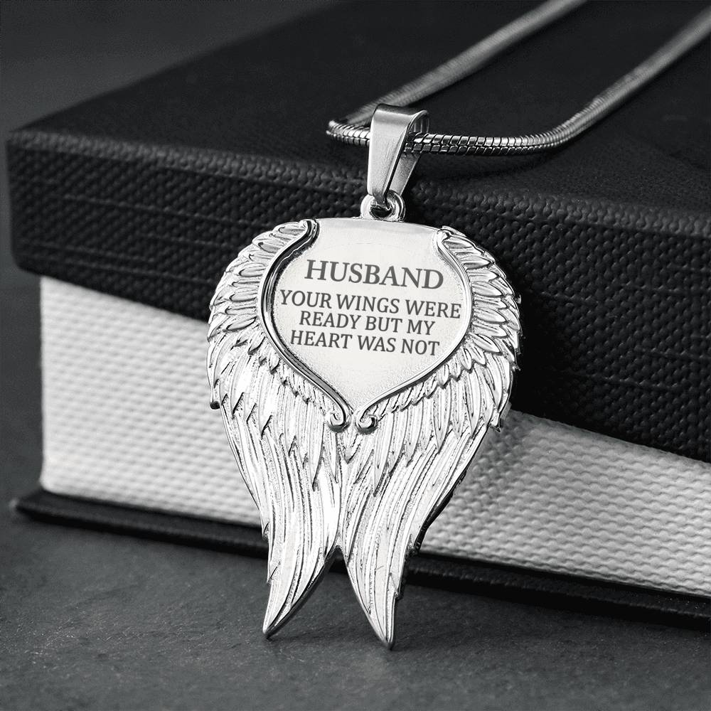 HUSBAND - Your Wings Engravable Necklace (TEMPORARILY OUT OF STOCK)
