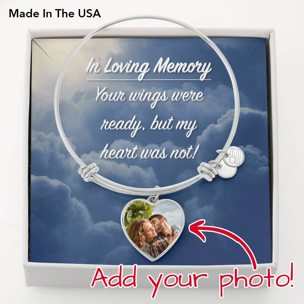 In Loving Memory Heart Photo Engravable Bangle