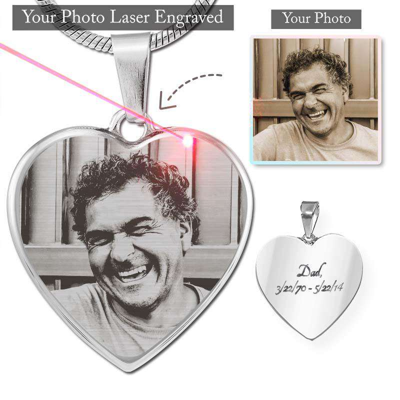 Custom Photo Etched Luxury Heart Necklace (TEMPORARILY OUT OF STOCK)