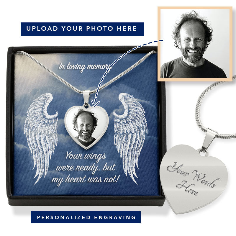 In Loving Memory Heart Photo Engravable Necklace