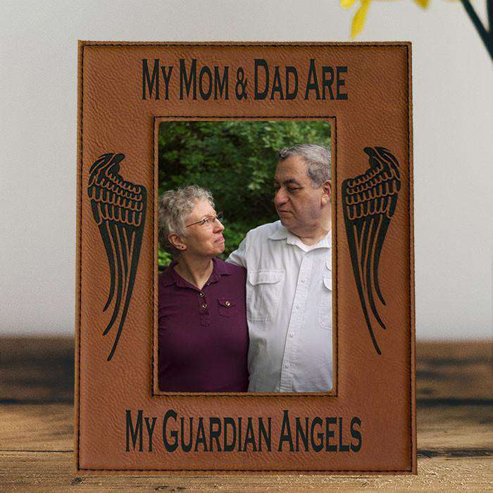 My Mom & Dad Are My Guardian Angels Laser Engraved Picture Frame ...