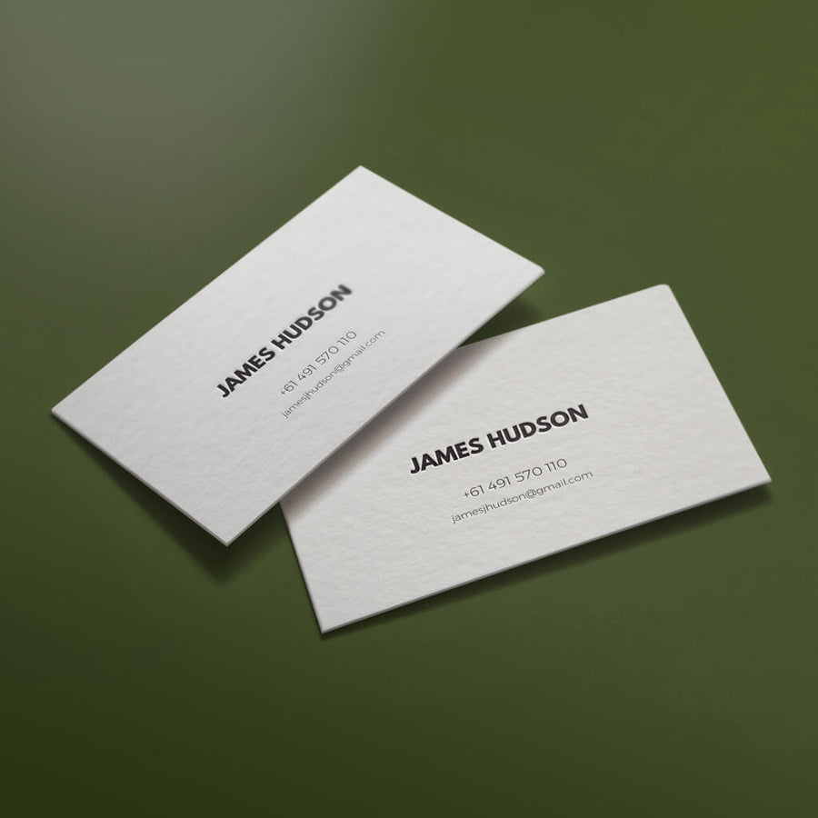 The Suave personal letterpress card long shot. Custom personal letterpress card. Pressed business card
