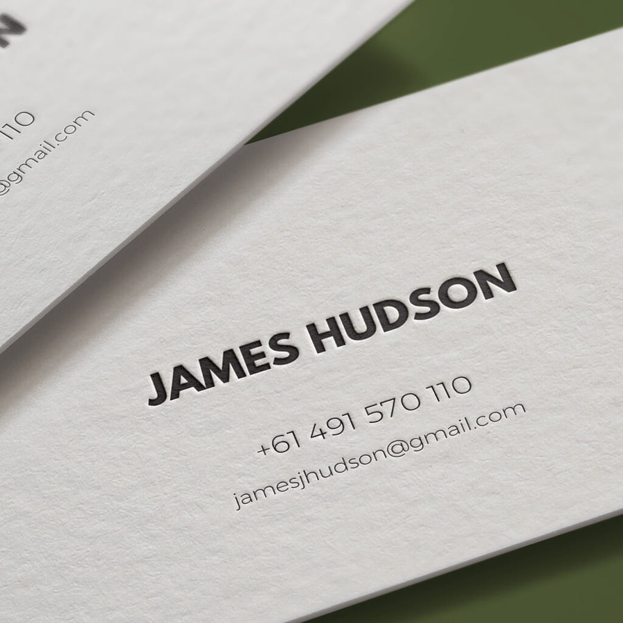 The Suave personal letterpress card close up. Custom personal letterpress card. Pressed business card
