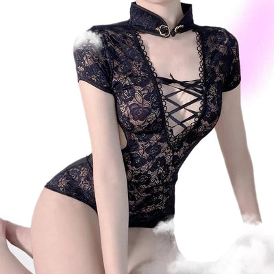 Exposed Lolita Floral Lingerie