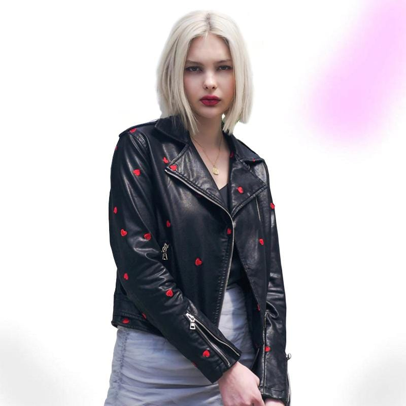 Faux Leather Love Hearts Jacket