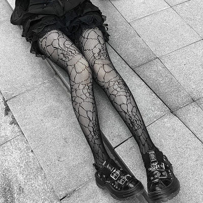 Flashy Black Gothic Tights