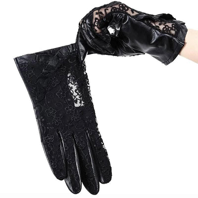 Gothic Black Floral Gloves