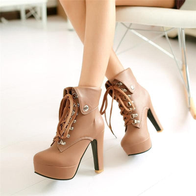 Dominate em Lace-up Heel Boots