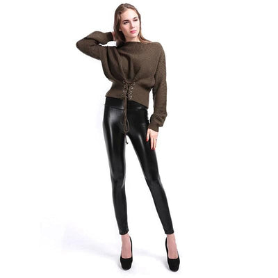 Faux Leather Gothic Black Leggings