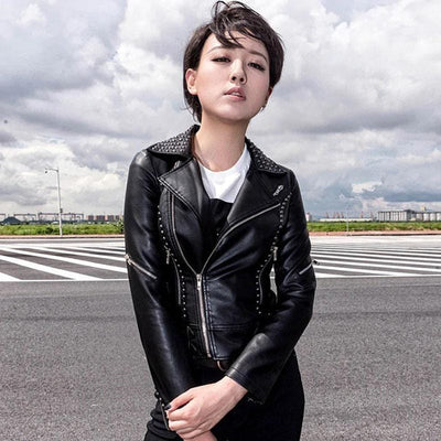 Fashionable Gothic Leather Motorcycle Jacket