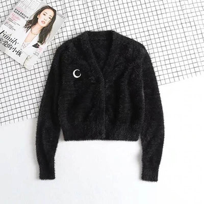 Black Crochet Moon Sweater