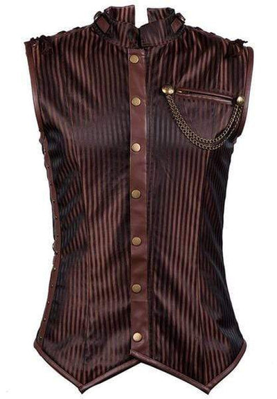 Striped Collar Steampunk Gothic Corset