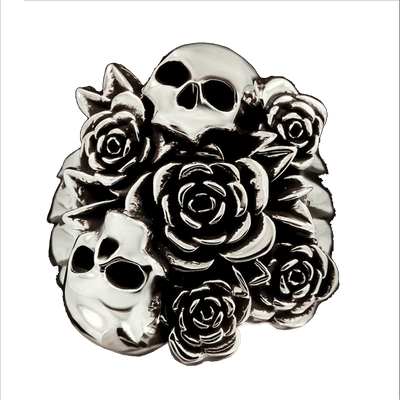 Flowered Skull Ring