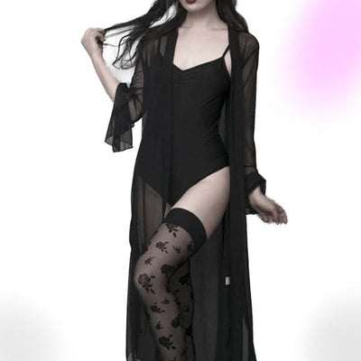 Gothic Sheer Black Mesh Robe