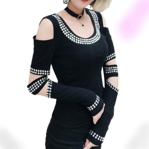 Gothic Diamonds Off Shoulder T-Shirt