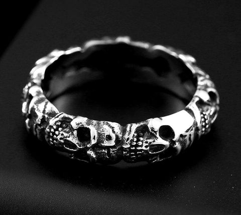 Cemetery Steel Skull Soldier Gothic Ring