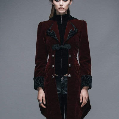 DEVIL wears wine red vintage swallow tail coat