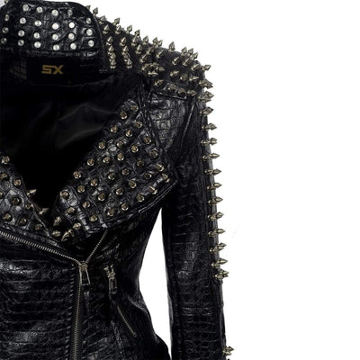 Wrecked Karma Studded Leather Jacket