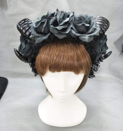 Bold Black Witches Horns Headress (Optional Veil)