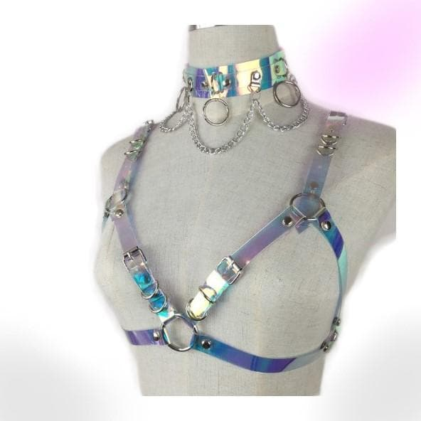 Holographic Choker Belt Harness