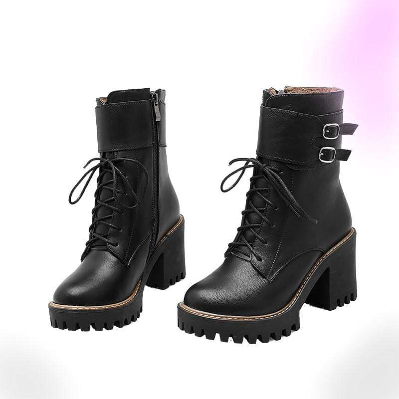 Possession Ladies Double Buckle High Heel Boots