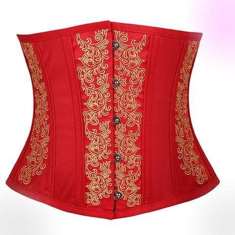 Red Embroidery Flower Corset