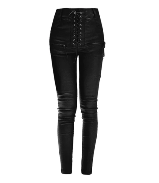 Gothic Leather Lace Pants High Waist