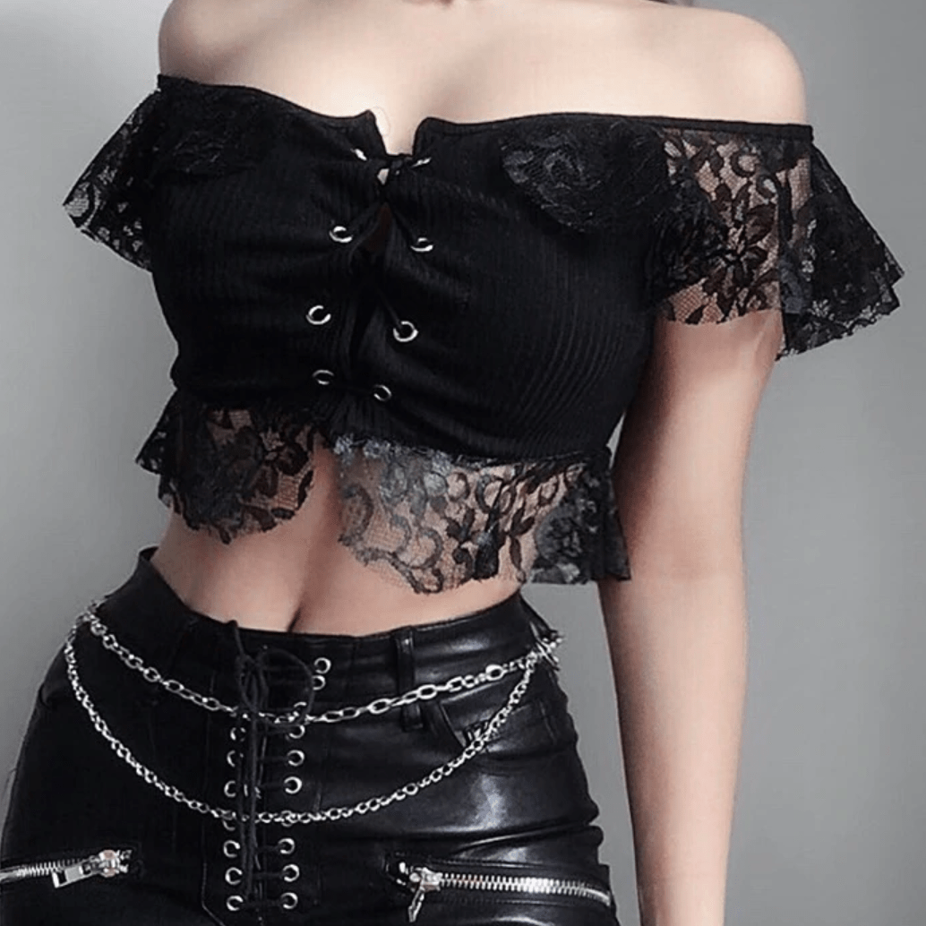 Goth Black Lace Crop Top