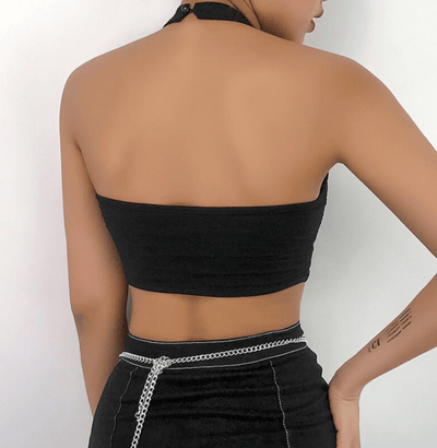 Halter Black Mesh Crop Top