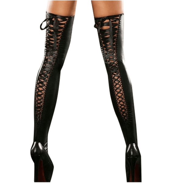 Gothic Leather Lace Tights
