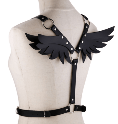 Gothic Wings Leather Harness Bondage