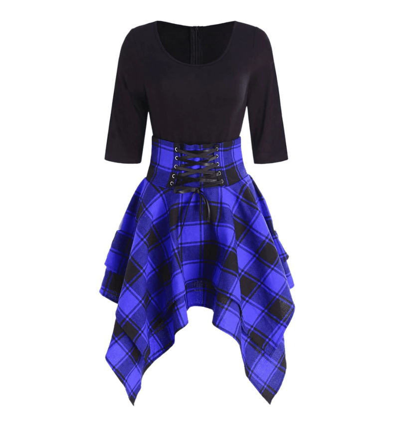 High Waist Plaid Asymmetric Mini Dress