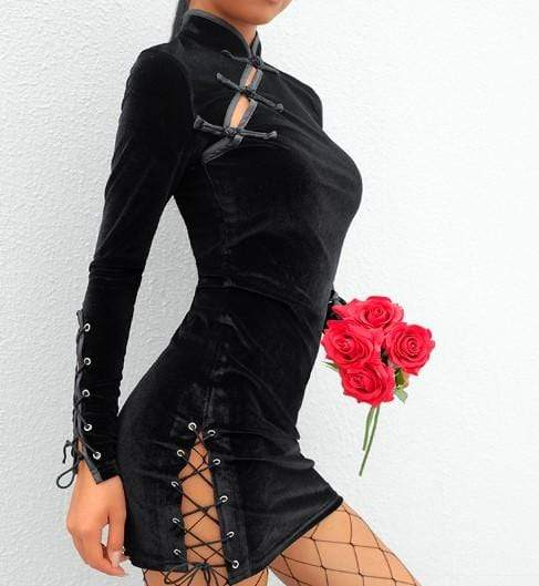 Gothic Buckle Lace Up Velvet Dress