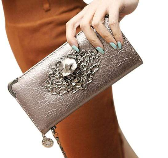Metal Skull Pattern Leather Long Wallet