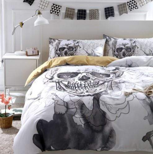 Flowers skull Duvet Bed Cover