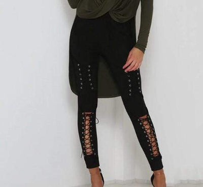 Gothic Lace Up Suede High Waist Pants