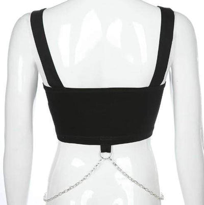 Gothic Punk Eyelet Metal Chain Top