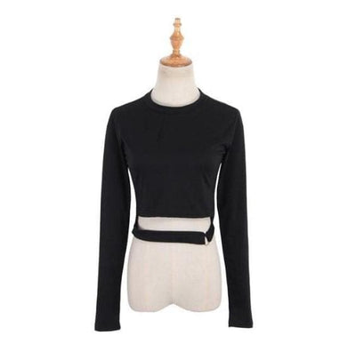 Gothic Sexy Long Sleeves Crop Top