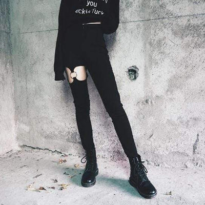 Gothic Hollow Out High Waist Pants