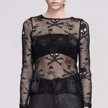 Skull Head Mesh Gothic Top
