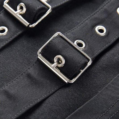 Hollow Out Buckle Strap Pants