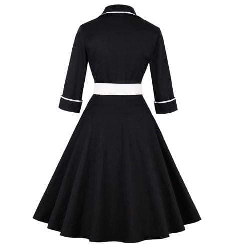 Patchwork Belt Vintage Dress Plus Size
