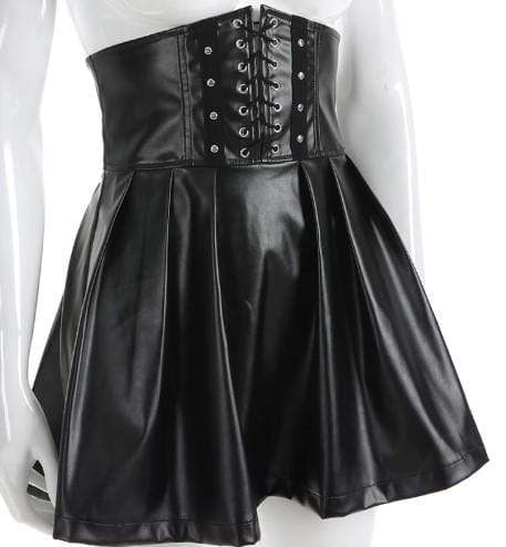 Gothic Leather Bandage High Waist