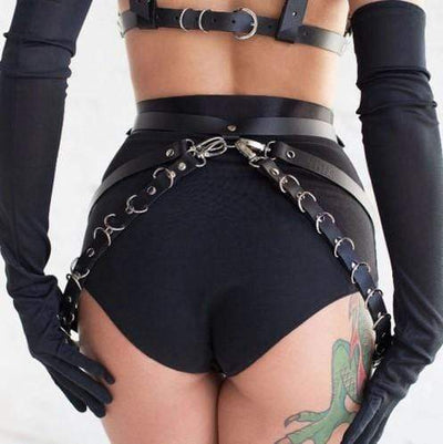 Chaotic Leather Harness Waist Garter